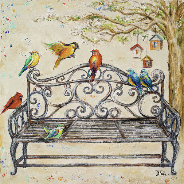Wall Art - Painting - Birds On The Bench by Patricia Pinto