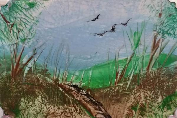 Painting - Birds Over Grassland by Lorraine Bradford