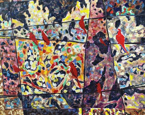 Wall Art - Painting - Birds Kitty Puzzle by Kathy Hauge