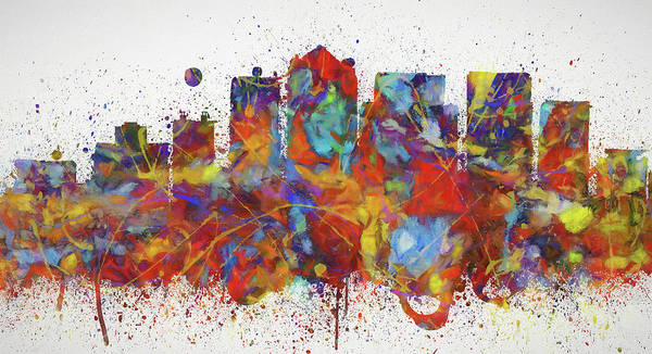 Wall Art - Painting - Birmingham Colorful Skyline by Dan Sproul
