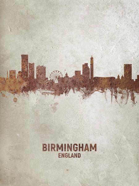 Wall Art - Digital Art - Birmingham England Rust Skyline by Michael Tompsett