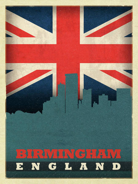 Wall Art - Mixed Media - Birmingham England World City Flag Skyline by Design Turnpike