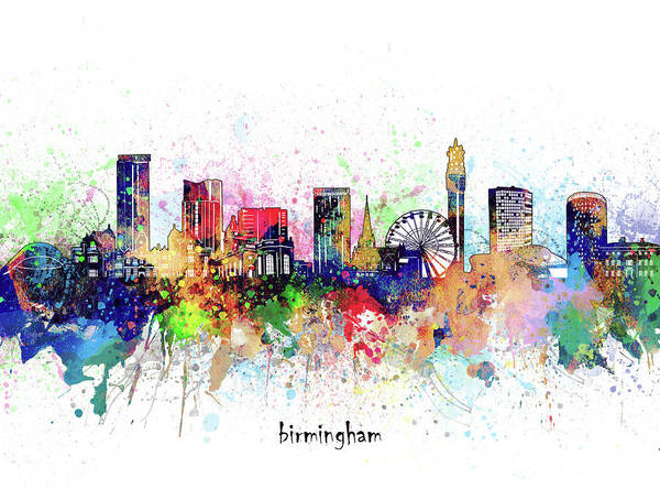 Wall Art - Digital Art - Birmingham Skyline Artistic by Bekim M