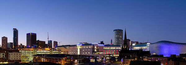 Parking Structure Photograph - Birmingham Skyline Night Panorama by Dynasoar