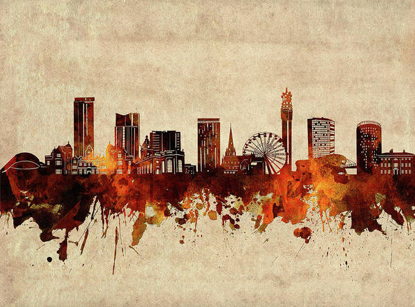 Wall Art - Digital Art - Birmingham Skyline Sepia by Bekim M