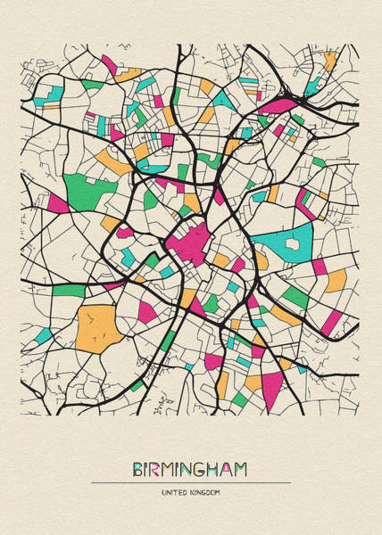 Wall Art - Drawing - Birmingham, United Kingdom City Map by Inspirowl Design