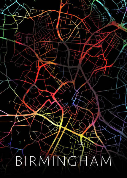 England Mixed Media - Birmingham United Kingdom City Street Map Watercolor Dark Mode by Design Turnpike