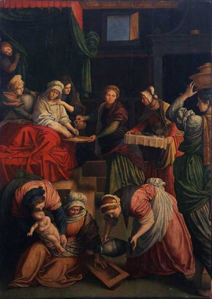 Wall Art - Painting - Birth Of The Virgin Mary , Gaudenzio Ferrari by Celestial Images