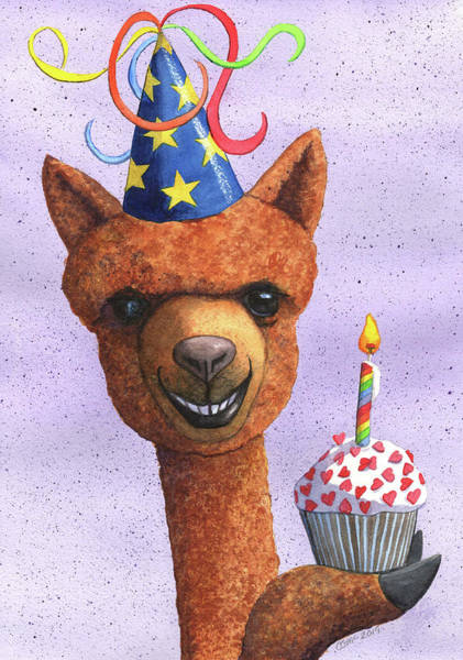 Painting - Birthday Alpaca by Catherine G McElroy