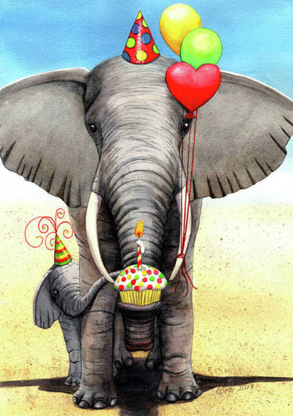 Painting - Birthday Elephant by Catherine G McElroy