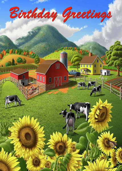 Wall Art - Digital Art - Birthday Greetings Greeting Card - Sunflowers Cows Farm Animals Landscape by Walt Curlee