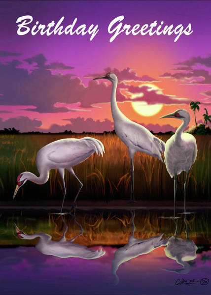 Wall Art - Digital Art - Birthday Greetings Greeting Card - Whooping Cranes Tropical Sunset by Walt Curlee