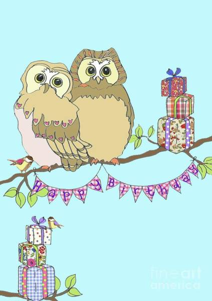 Sparrow Mixed Media - Birthday Owls by Anna Platts