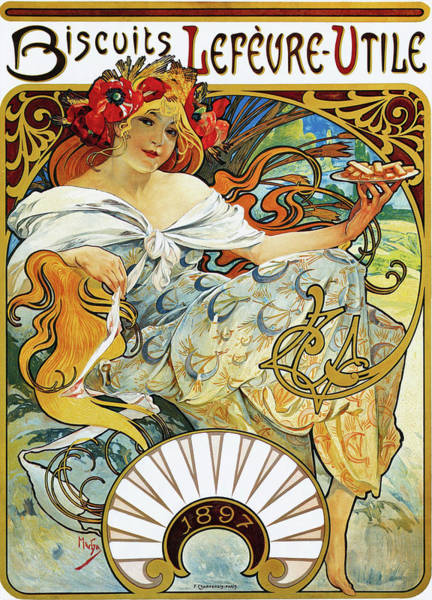Wall Art - Painting - Biscuit Lefeure-utile - Digital Remastered Edition by Alfons Maria Mucha