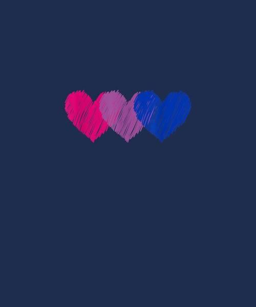 Wall Art - Digital Art - Bisexual Flag Hearts Love Shirt Lgbt Bi Pride T-shirt by Unique Tees