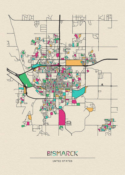 Wall Art - Drawing - Bismarck, United States City Map by Inspirowl Design