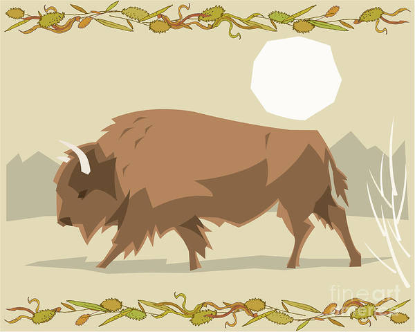 Wall Art - Digital Art - Bison In A Decorative Illustration by Artistan