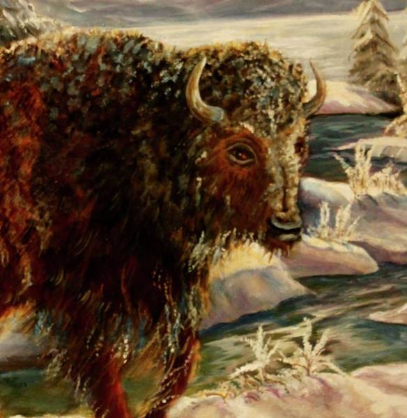 Painting - Bison In The Depths Of Winter In Yellowstone National Park by Philip Bracco