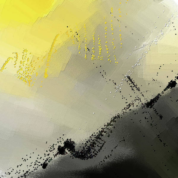 Painting - Bit Of Sun - Yellow And Gray Modern Art by Lourry Legarde