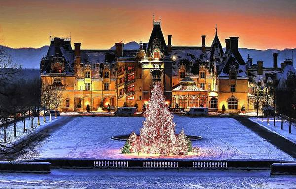 Photograph - Biltmore Christmas Night All Covered In Snow Painting by Carol Montoya