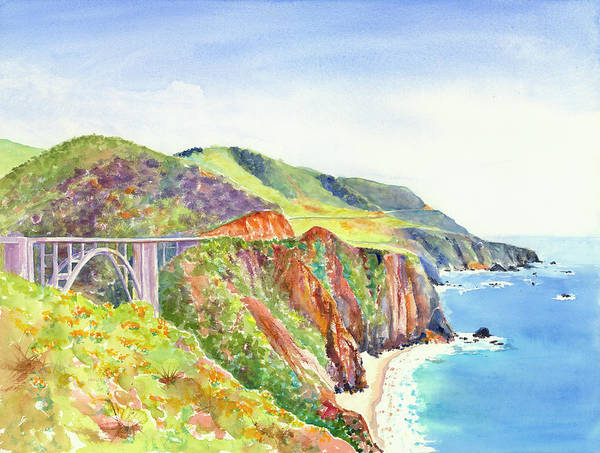 Painting - Bixby Bridge 2 Big Sur California Coast by Carlin Blahnik CarlinArtWatercolor