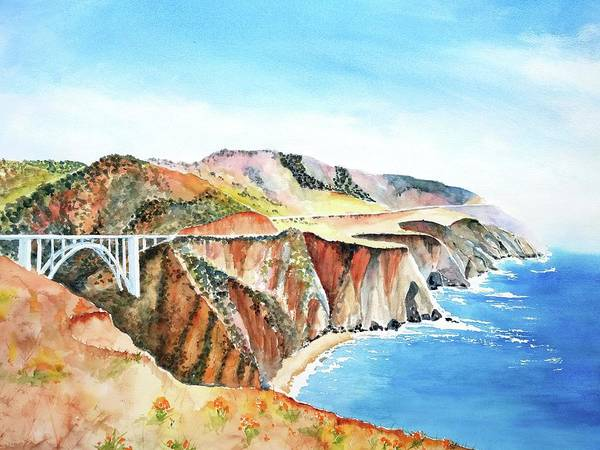 Painting - Bixby Bridge 3 Big Sur California Coast by Carlin Blahnik CarlinArtWatercolor