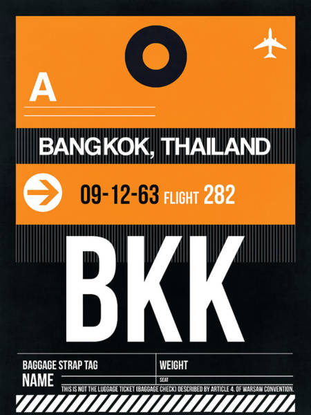 Wall Art - Digital Art - Bkk Bangkok Luggage Tag I by Naxart Studio