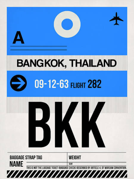 Wall Art - Digital Art - Bkk Bangkok Luggage Tag II by Naxart Studio