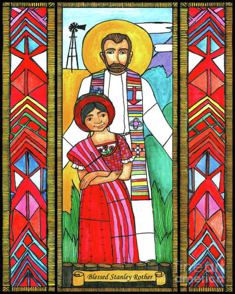 Painting - Bl. Stanley Rother - Bnrot by Brenda Nippert