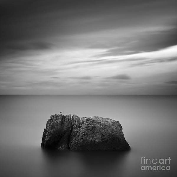 Waters Edge Wall Art - Photograph - Black & White Rocky Seascape Scene With by Yury Bird