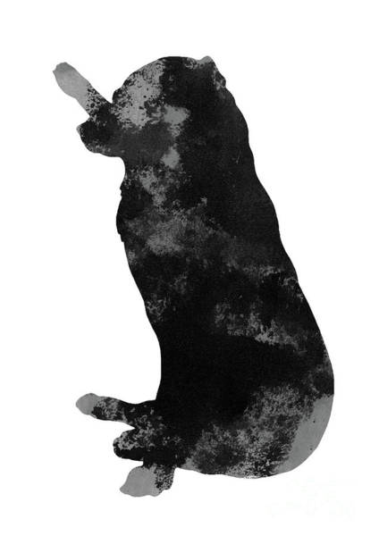 Wall Art - Painting - Black And Grey Silhouette Of A Labrador With A Stick by Joanna Szmerdt