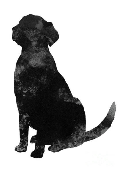 Wall Art - Painting - Black And Grey Silhouette Of A Sitting Labrador by Joanna Szmerdt