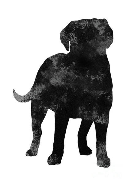 Wall Art - Painting - Black And Grey Silhouette Of A Standing Labrador Facing Front by Joanna Szmerdt