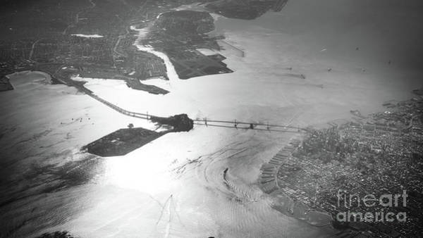 Photograph - Black And White Aerial View Of Downtown San Francisco With Sun R by PorqueNo Studios