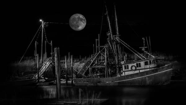 Wall Art - Photograph - Black And White Art Fishing Boat And Full Moon by Dapixara Art