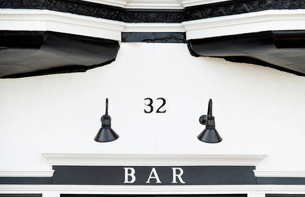Photograph - Black And White Bar Entrance by Gary Slawsky