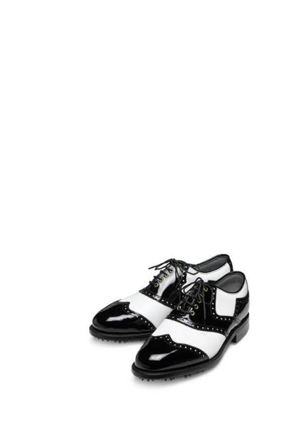 Shoe Photograph - Black And White Brogue Golf Shoes On by Peter Dazeley