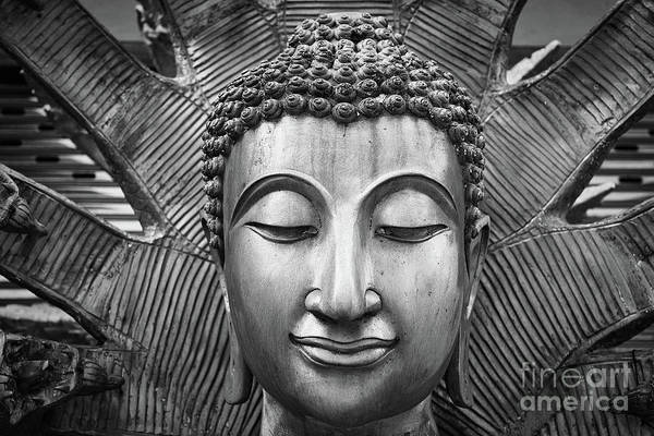 Wall Art - Photograph - Black And White Buddha Face I by Dean Harte