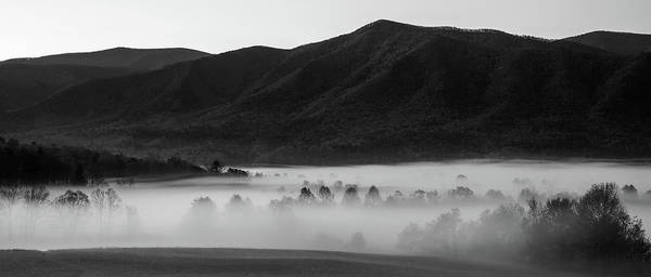 Photograph - Black And White Cades Cove Fog by Dan Sproul