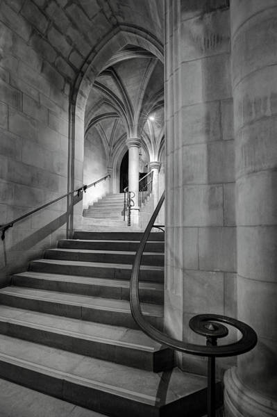 Photograph - Black And White Cathedral Crypt Stairs  by Harriet Feagin