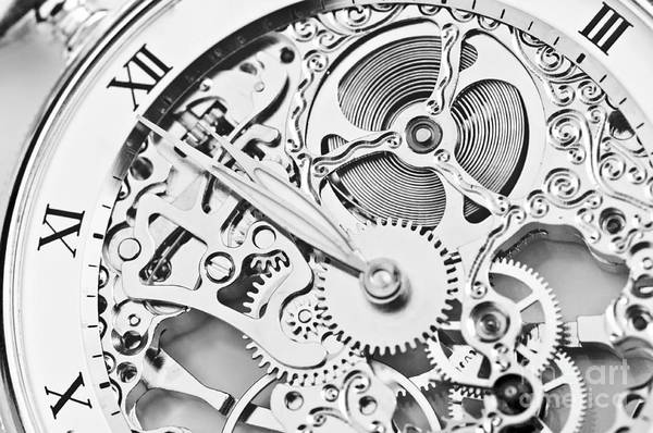 Wall Art - Photograph - Black And White Close View Of Watch by Thomaslenne