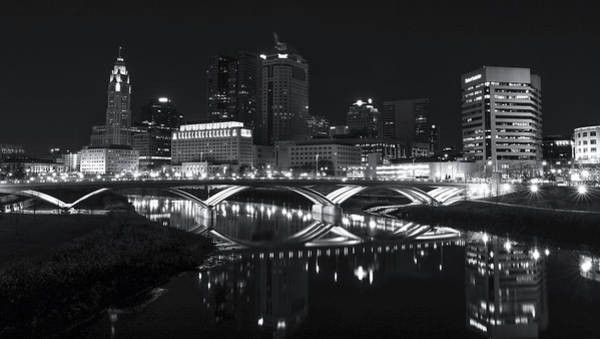 Photograph - Black And White Columbus Skyline by Dan Sproul