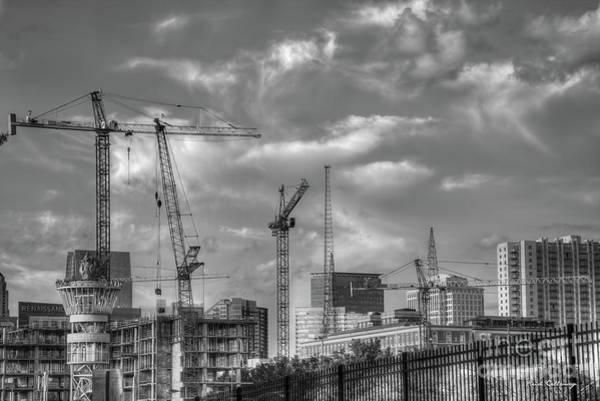 Photograph - Black And White Cranes Atlanta Construction Art by Reid Callaway