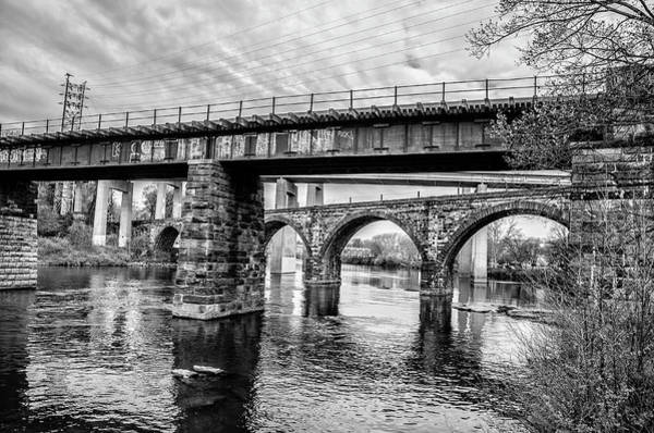 Wall Art - Photograph - Black And White - East Falls Bridges by Bill Cannon