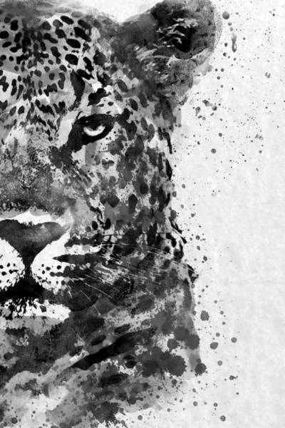 Monochrome Painting - Black And White Half Faced Leopard by Marian Voicu