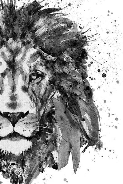 Wall Art - Painting - Black And White Half Faced Lion by Marian Voicu