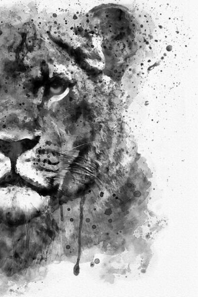 Wall Art - Painting - Black And White Half Faced Lioness by Marian Voicu