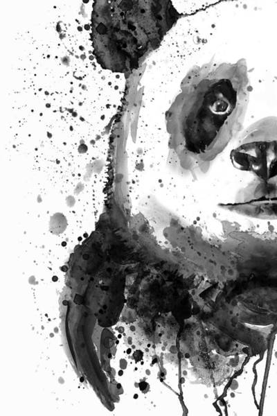 Wall Art - Painting - Black And White Half Faced Panda by Marian Voicu