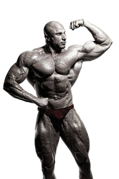 Black And White Image Of A Bodybuilder Art Print