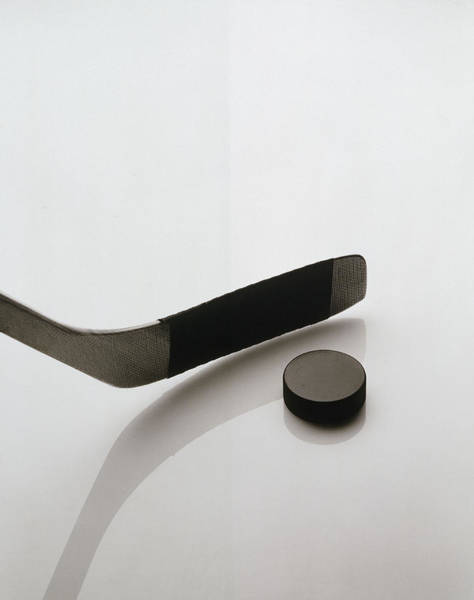 Ice Hockey Photograph - Black And White Image Of Hockey Stick by Howard Sokol